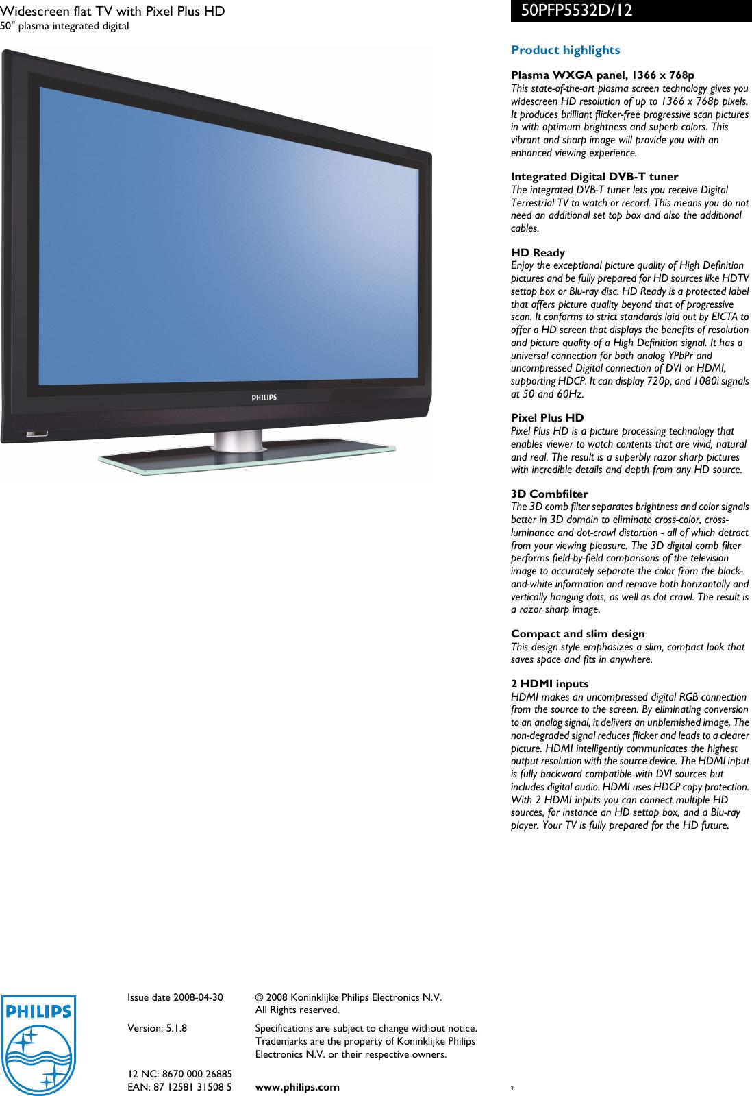Philips 50Pfp5532D Users Manual 50PFP5532D/12 Widescreen