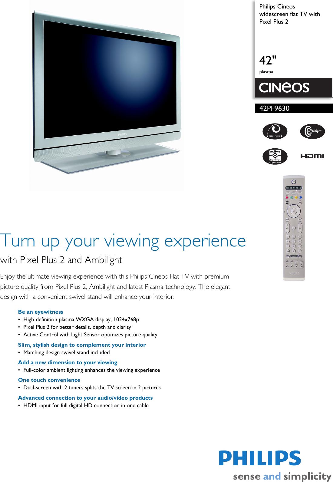 philips cineos 42pf9630 users manual 42pf9630 78 widescreen flat tv rh usermanual wiki HV10 Philips Remote Control Manuals Philips User Manual