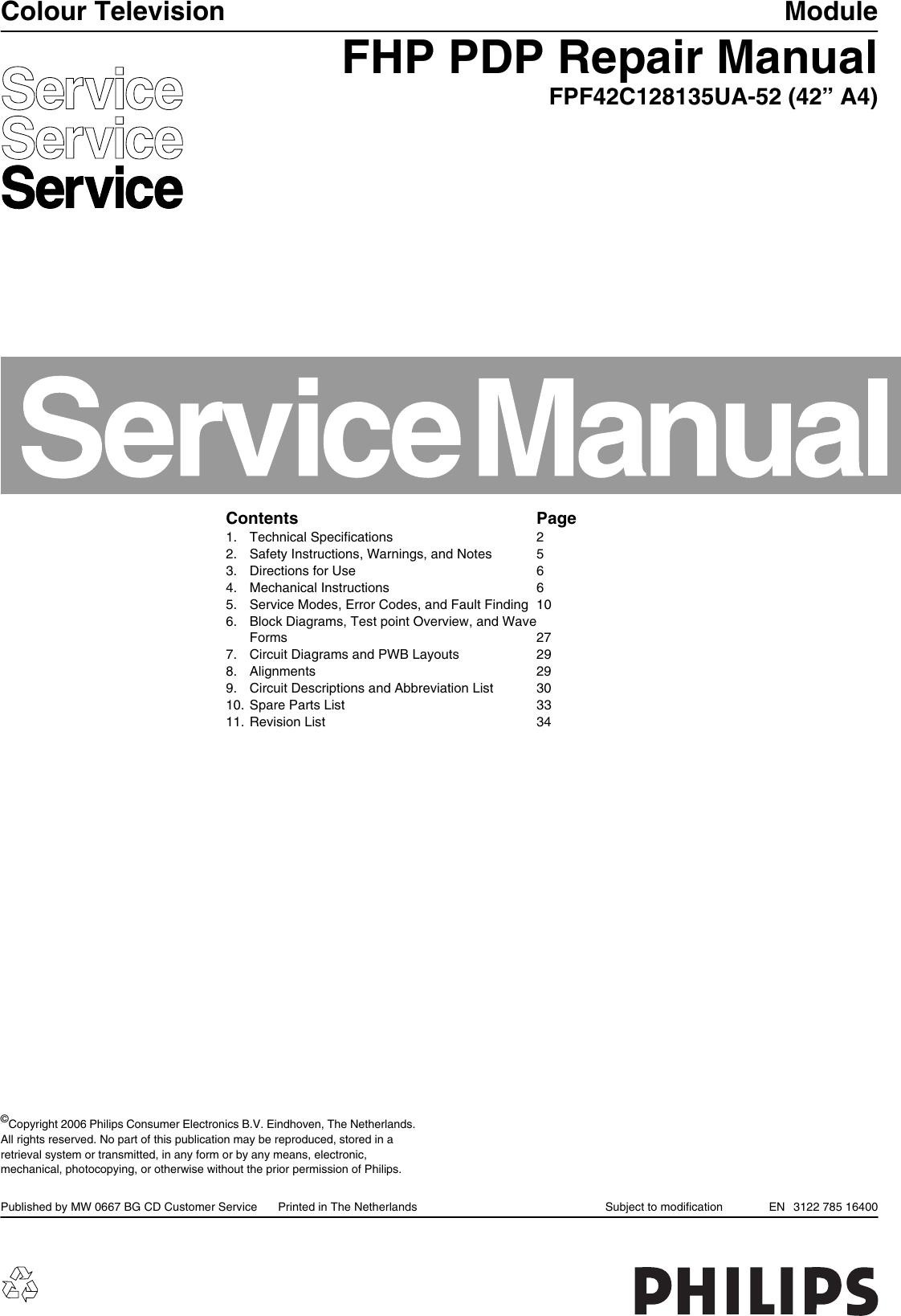 Philips Fpf42c128135ua 52 Users Manual Fhp Pdp 312278516400 Colour T V Circuit Diagram