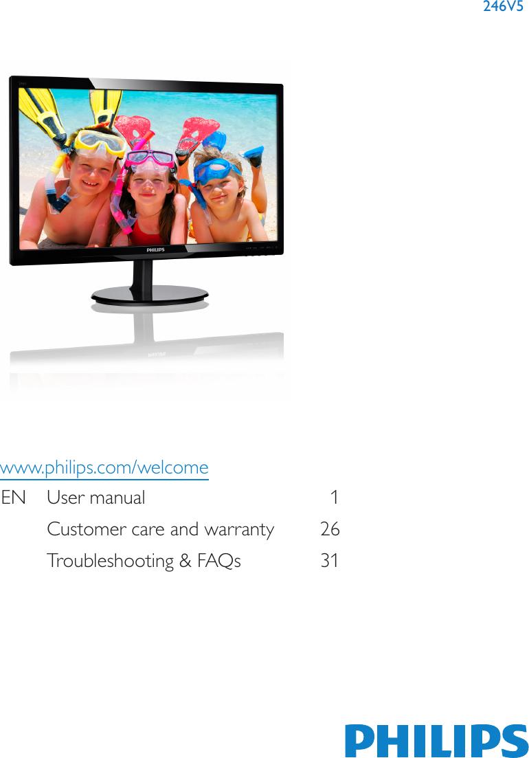 Philips Computer Monitor 246V5 Users Manual