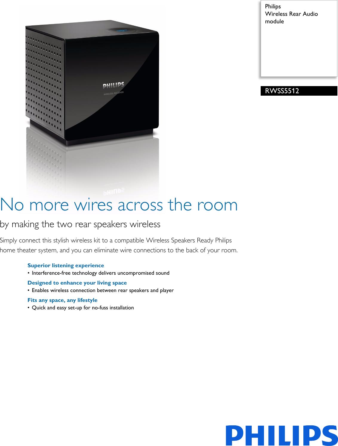 Philips RWSS5512/00 Wireless Rear Audio Module User Manual
