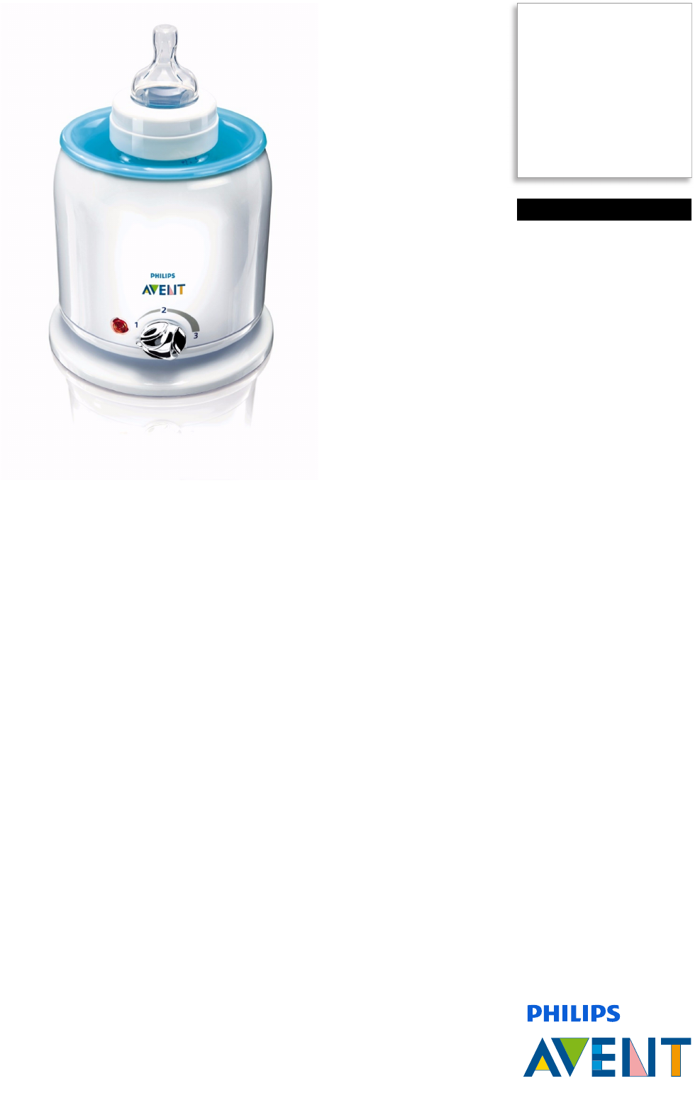 Philips Scf25512 Electric Bottle And Baby Food Warmer User Manual