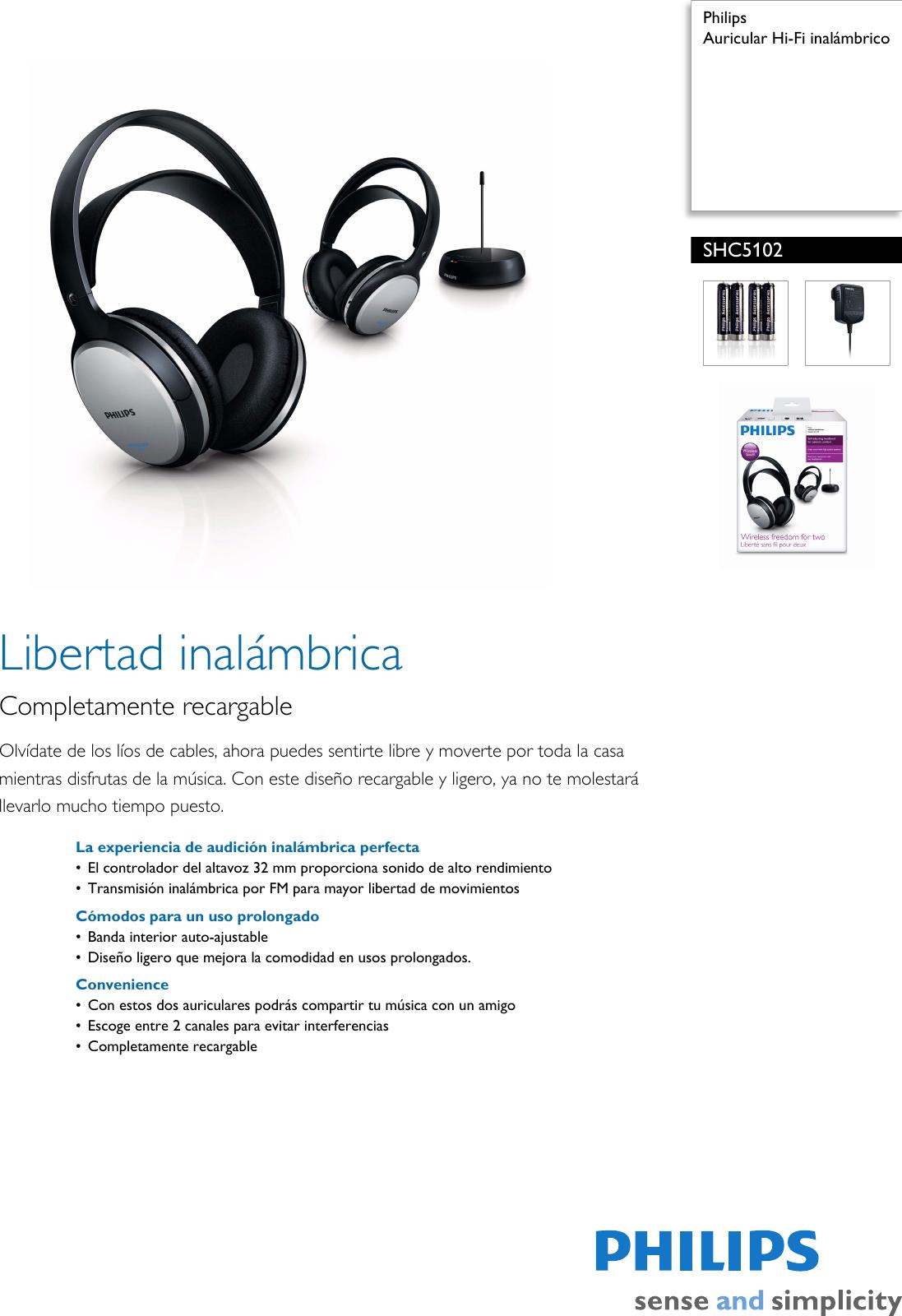 Philips SHC5102 10 Leaflet SHC5102 10 Released Spain (Spanish) User Manual  Folleto Shc5102 10 Pss Espes 8b64702089f2