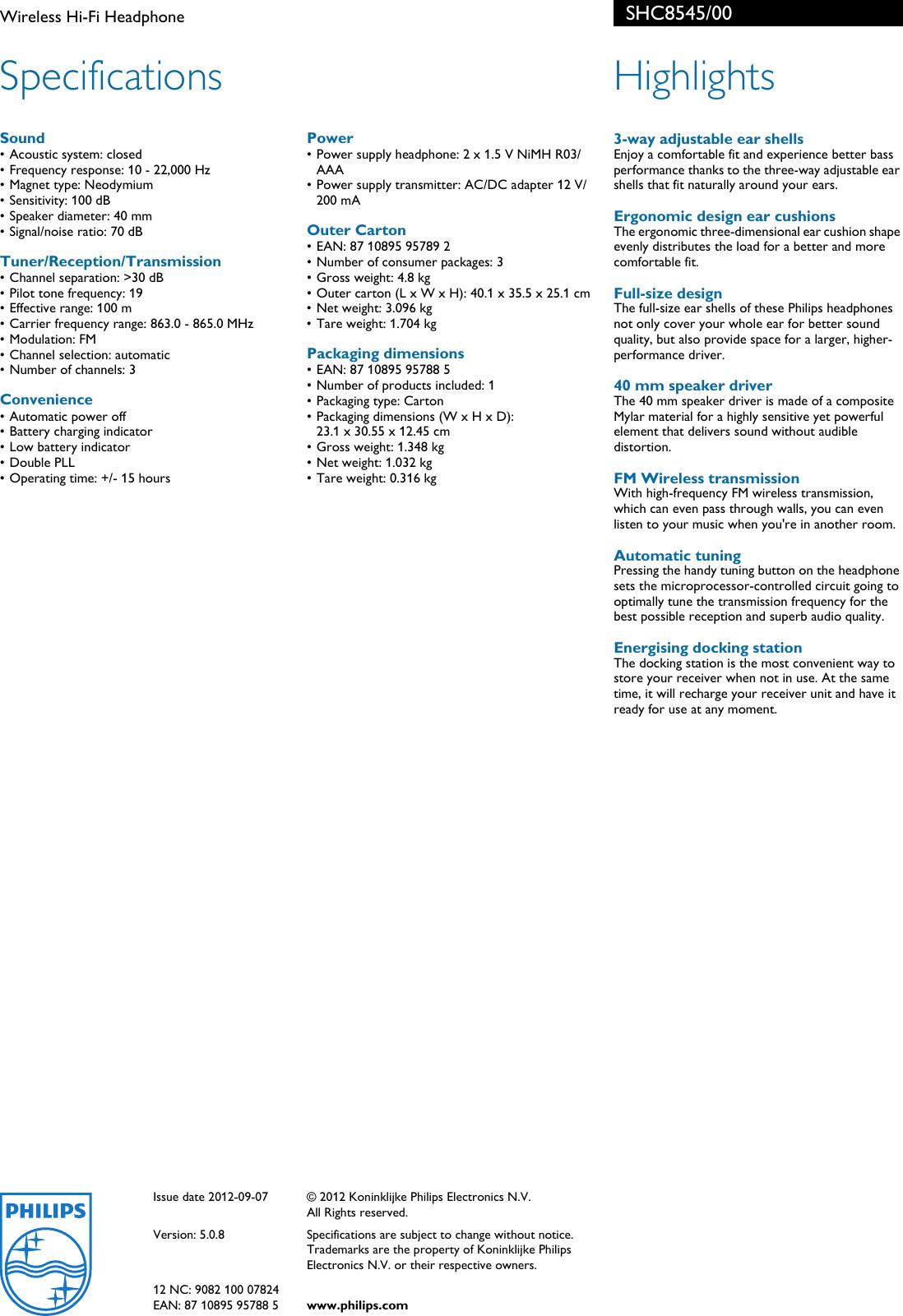 Philips Shc8545 00 Wireless Hi Fi Headphone User Manual Leaflet Low Battery Indicator Circuit Page 2 Of
