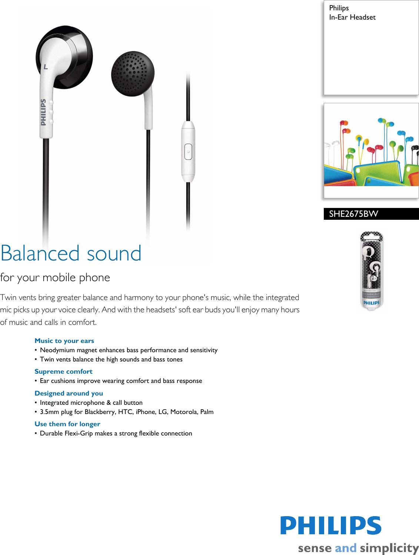 Philips SHE2675BW/28 In Ear Headset User Manual Leaflet