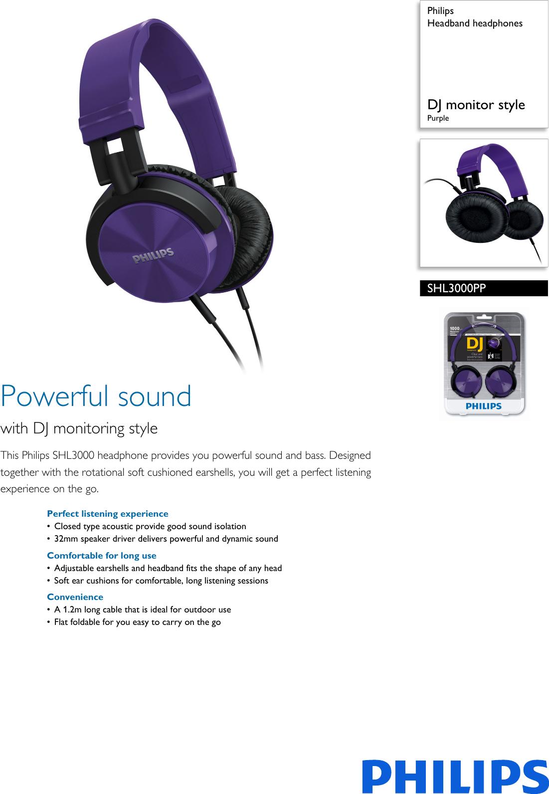 14ccd7633ff Philips SHL3000PP/00 Headband Headphones User Manual Leaflet Shl3000pp 00  Pss Aenus