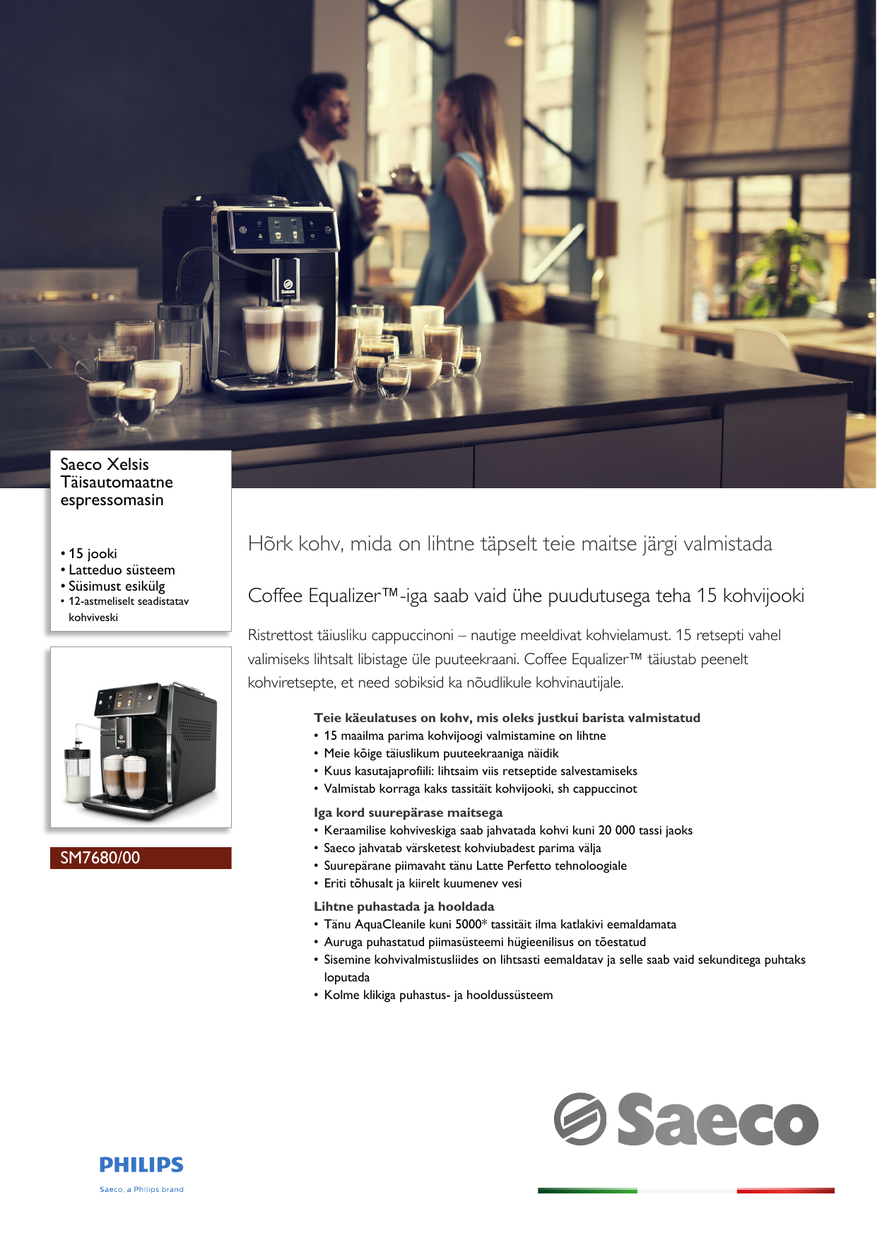 c4f42cfa92ba Philips SM7680 00 Saeco Täisautomaatne Espressomasin User Manual Voldik Sm7680  00 Pss Estee