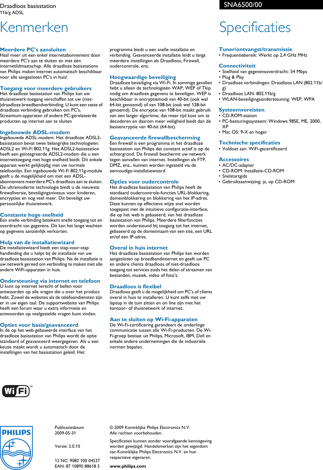 Philips SNA6500/00 Draadloos Basisstation User Manual