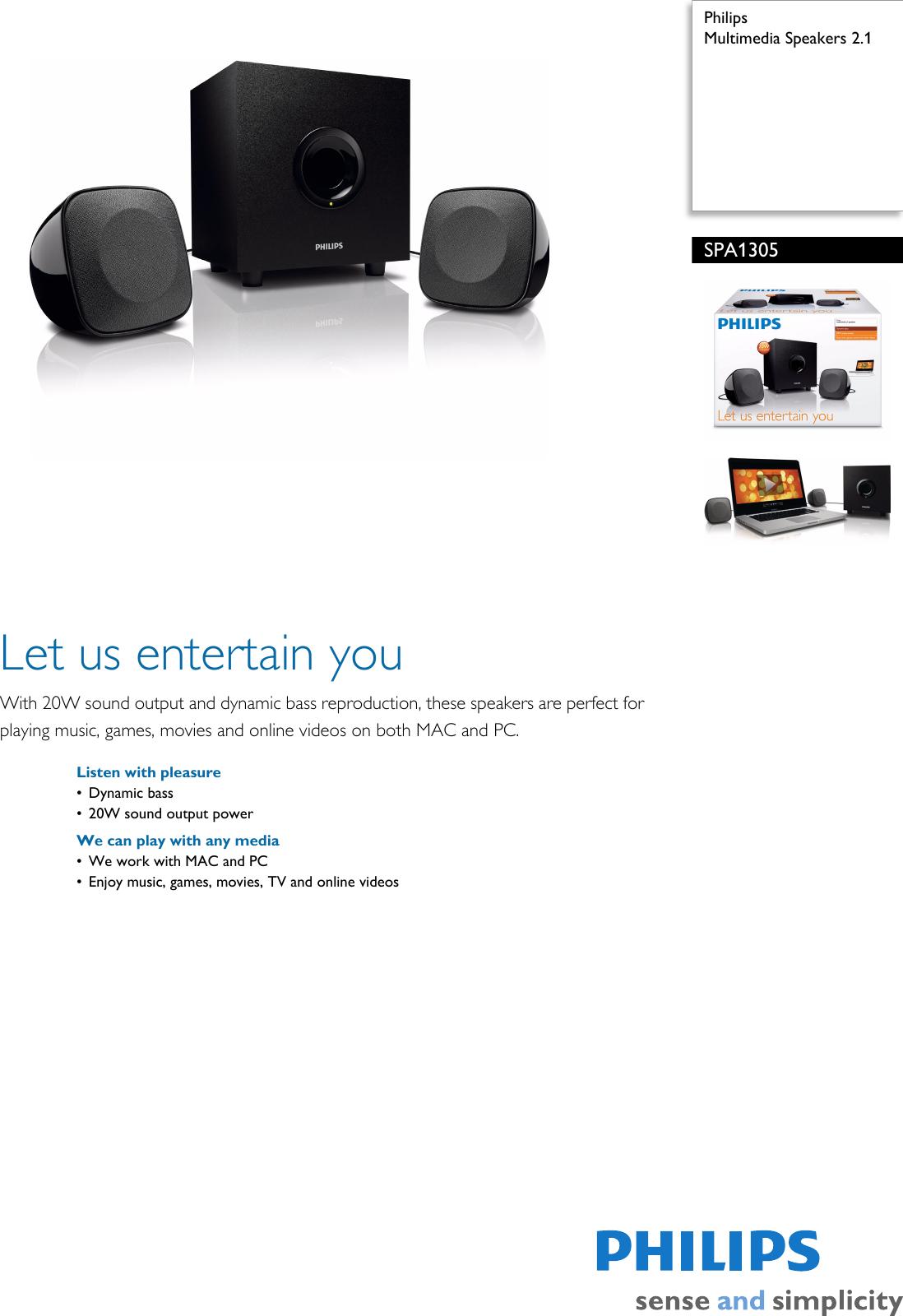 philips spa1305 10 multimedia speakers 2 1 user manual leaflet rh usermanual wiki Philips User Guides Speaker Bt7900 Philips TV User Manual