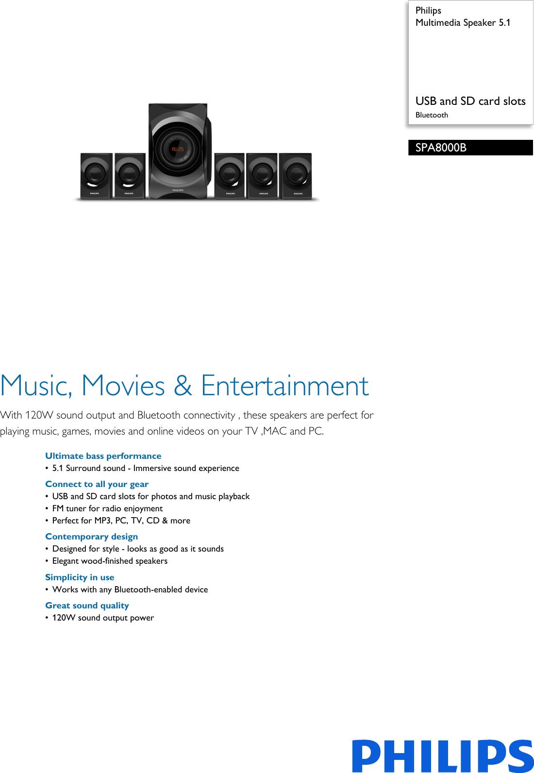 Philips SPA8000B/94 Multimedia Speaker 5 1 User Manual
