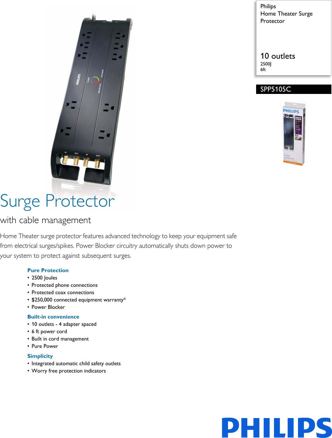 philips spp5105c 17 home theater surge protector user manual leaflet rh usermanual wiki New Home Phone 2012 Best Home Phone System