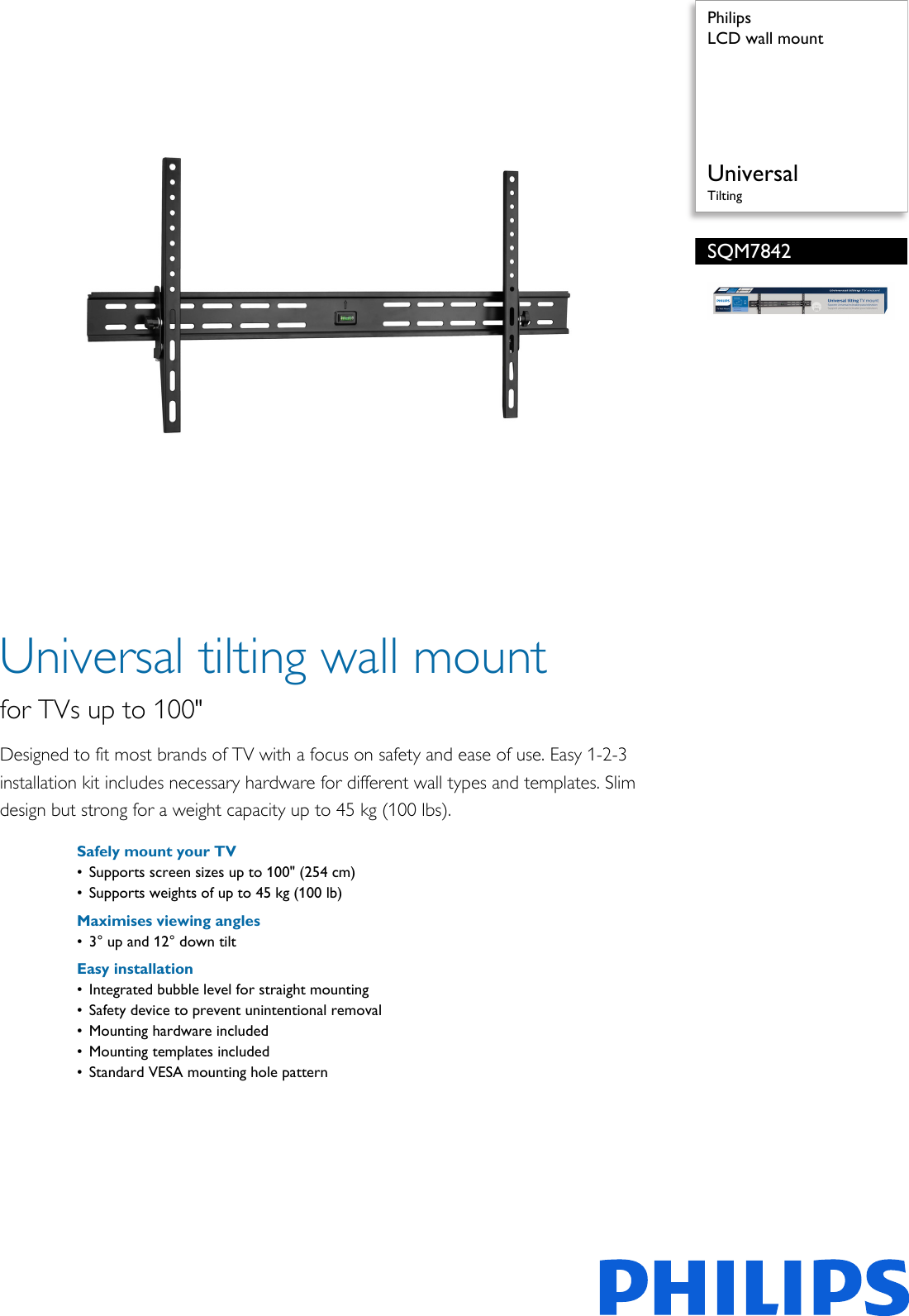 philips sqm7842 00 lcd wall mount user manual leaflet sqm7842 00 pss rh usermanual wiki Philips Smart TV 32 Philips TV Troubleshooting