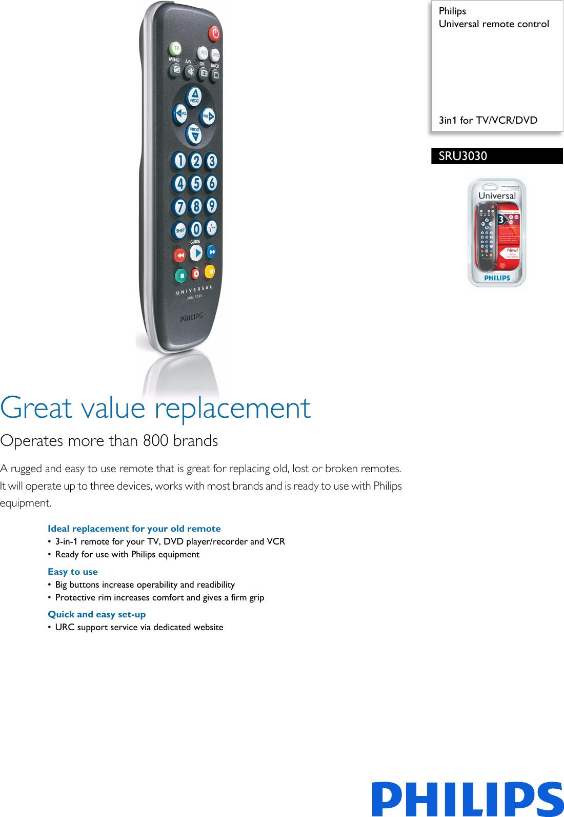 Philips SRU3030/10 Universal Remote Control User Manual