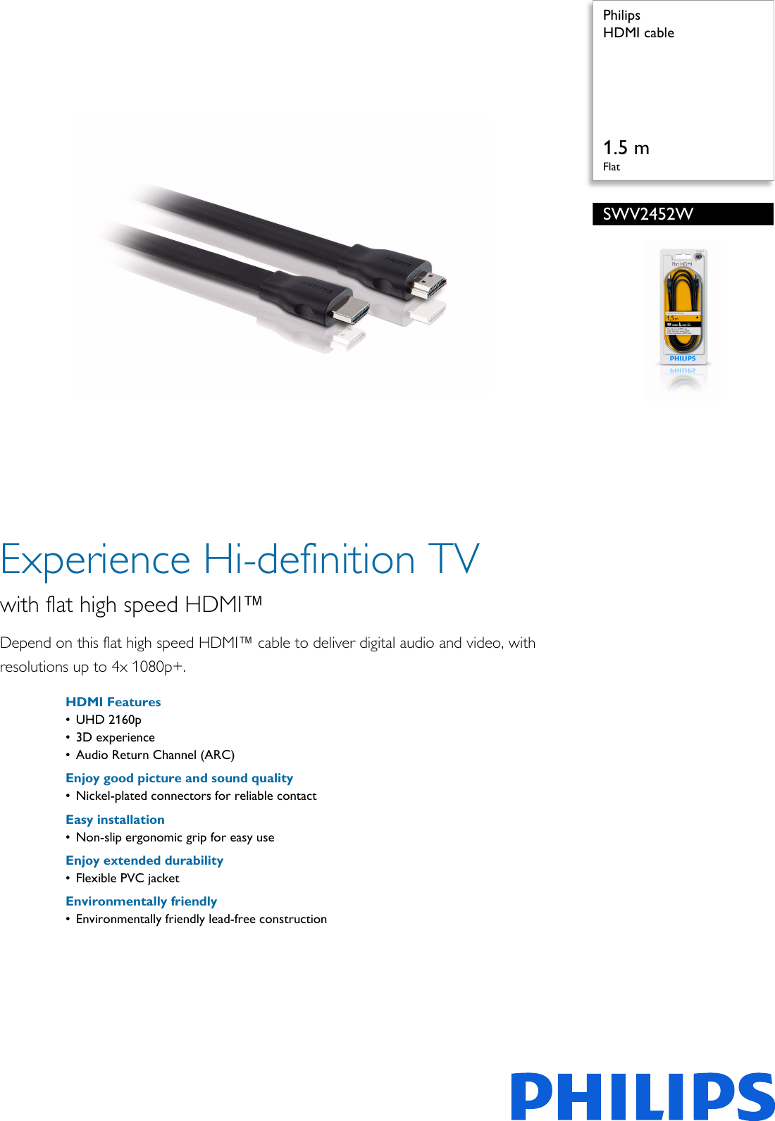 philips swv2452w 10 hdmi cable user manual leaflet swv2452w 10 pss engie rh usermanual wiki Philips TV Troubleshooting Philips TV Problems