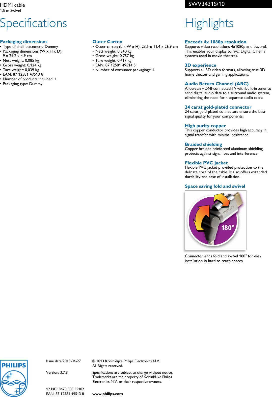 Kuyia Kabel Hdmi V14 Panjang 3 Meter Gold Platted Kualitas Terjamin ... - HDMI Kabel 10 Meter High Speed. Source · Page 2 of 2 - Philips SWV3431S/10 HDMI ...