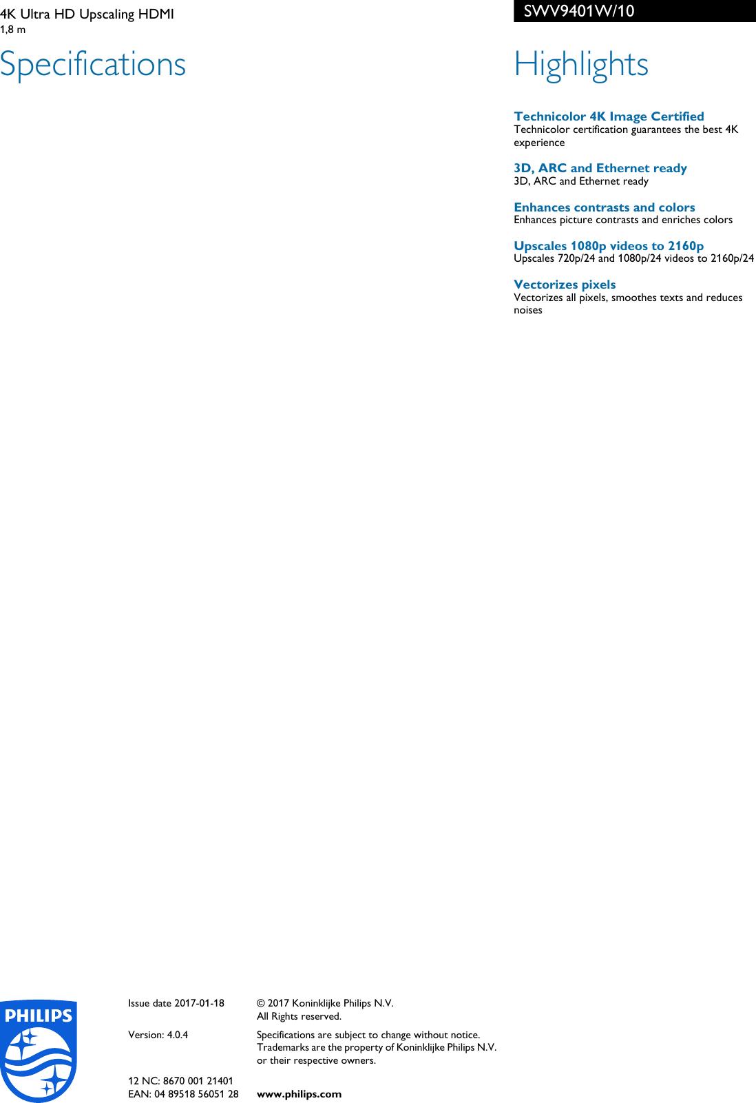 Philips SWV9401W/10 4K Ultra HD Upscaling HDMI User Manual