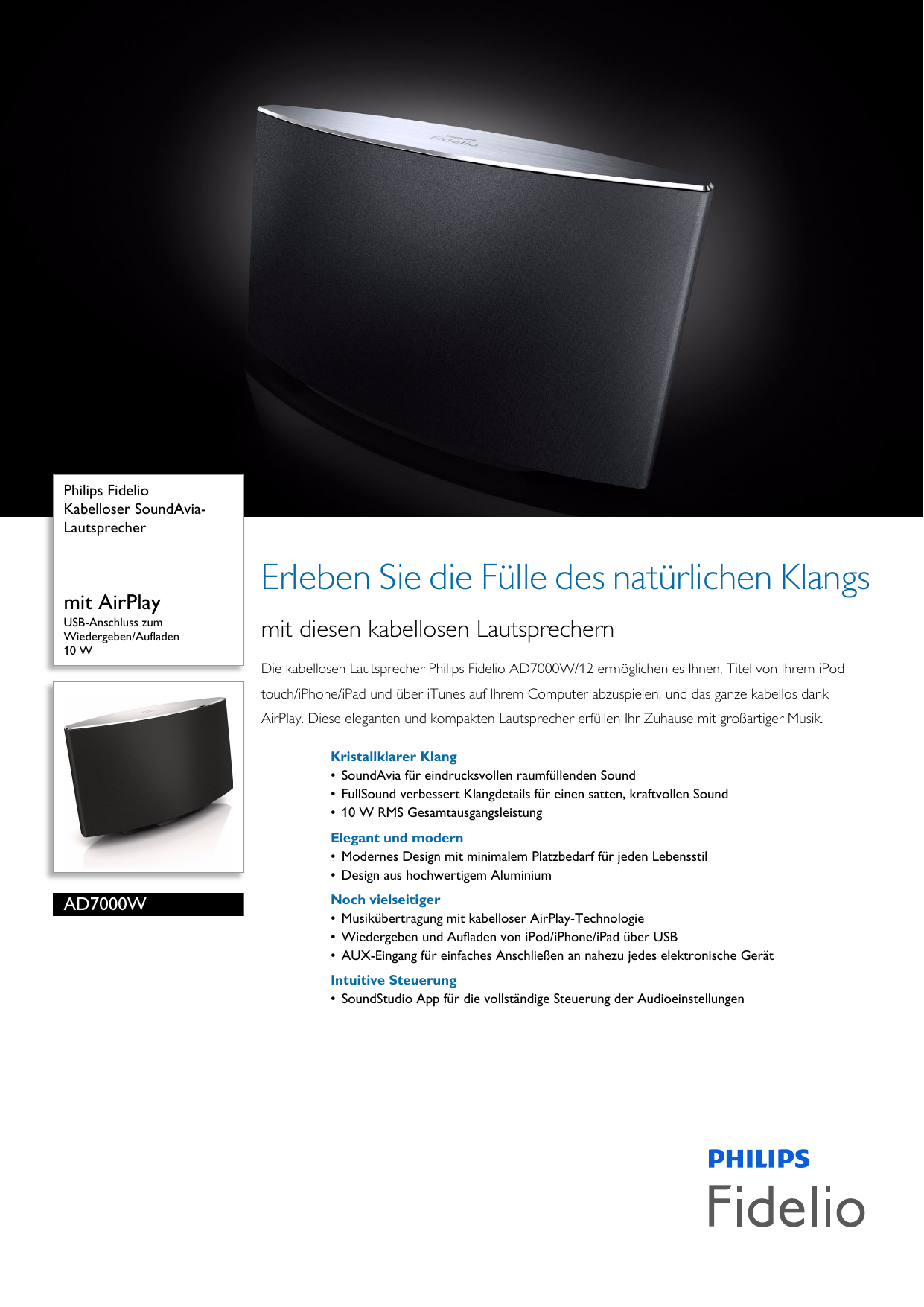 Philips AD7000W/12 Kabelloser SoundAvia Lautsprecher Sound Avia ...
