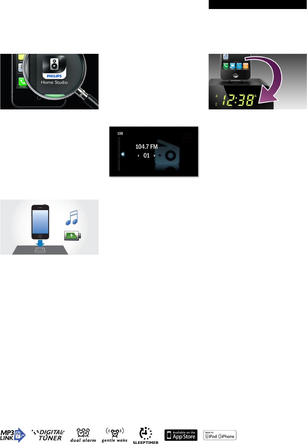 Philips AJ5300D/05 Alarm Clock Radio For IPod/iPhone