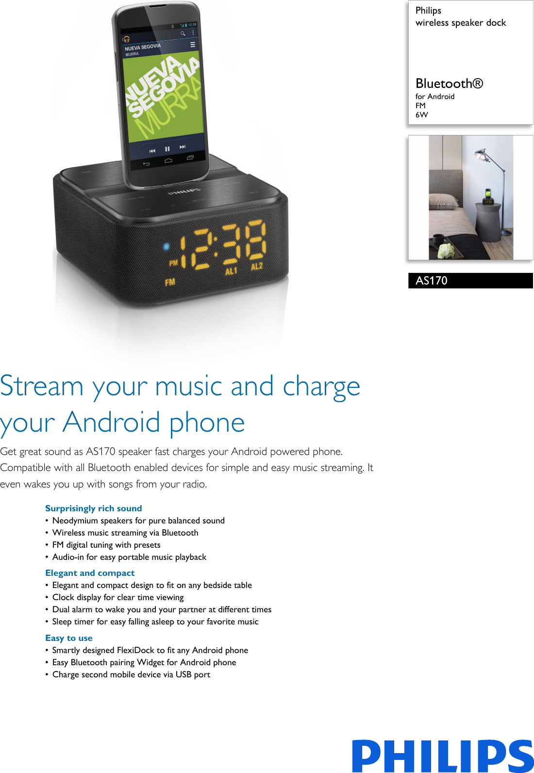 Philips AS170/12 Wireless Speaker Dock Leaflet As170 12 Pss Engmy