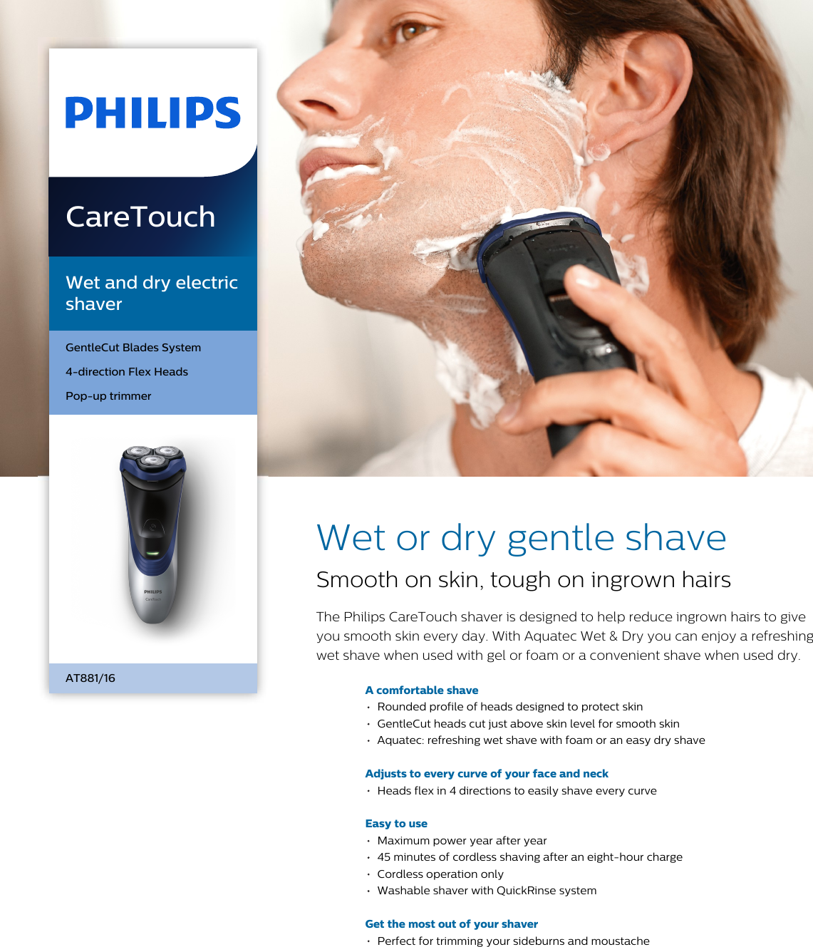 Philips AT881/16 Wet And Dry Electric Shaver Leaflet At881