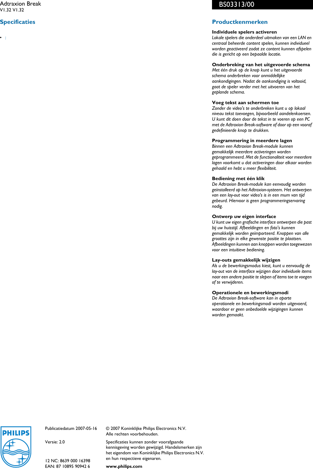 Philips BS03313/00 Adtraxion Break Brochure Bs03313 00 Pss Nldnl