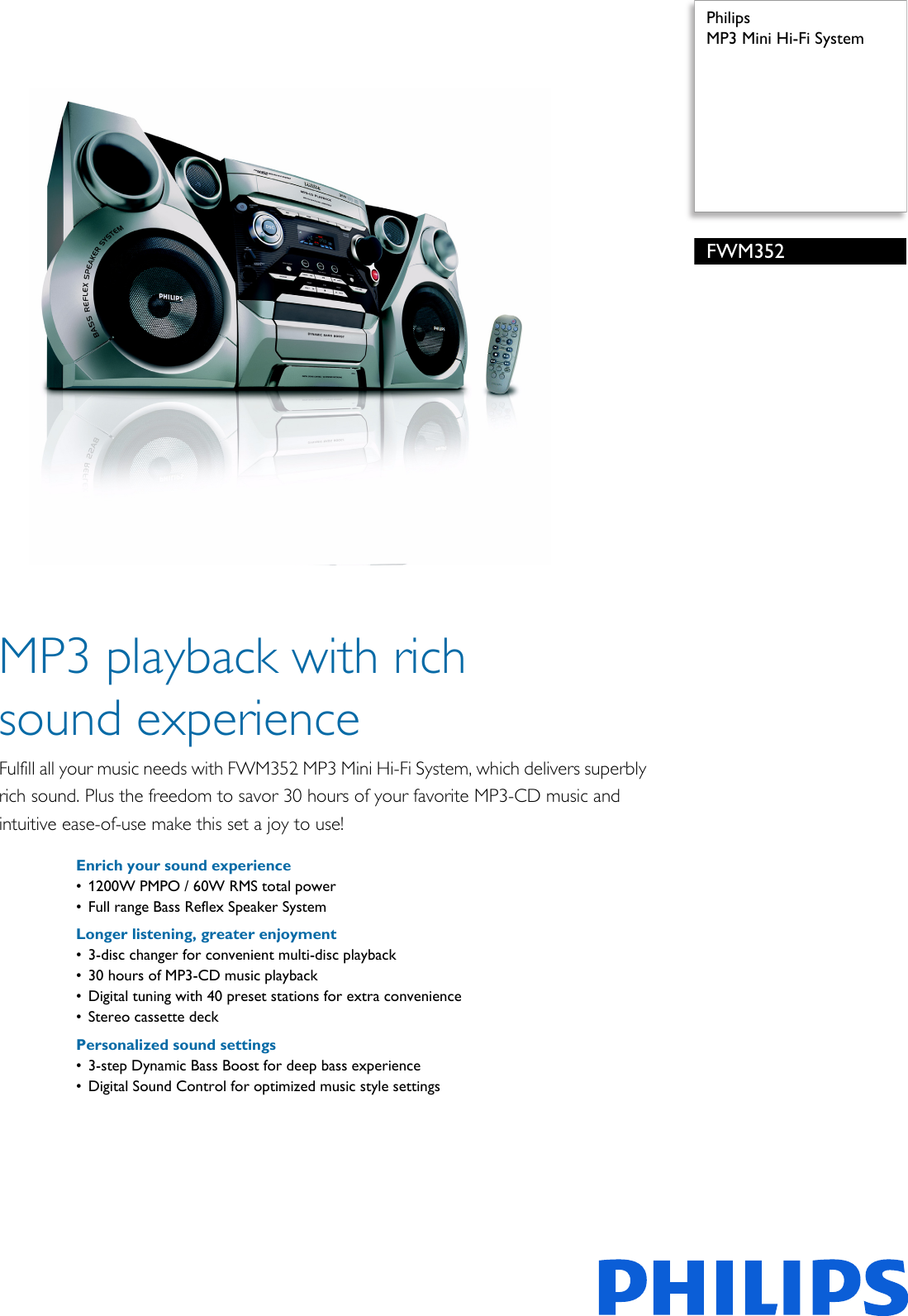 fc8733f2ad4 Philips FWM352/79 MP3 Mini Hi Fi System Leaflet Fwm352 79 Pss