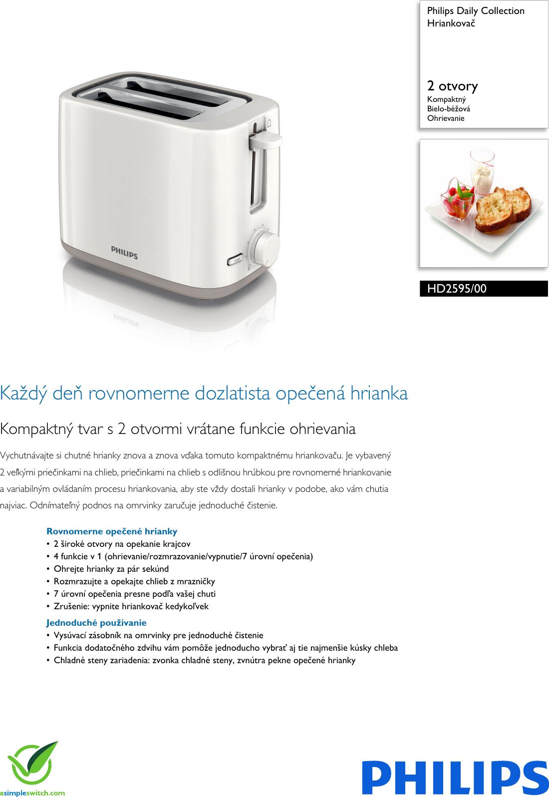 6d7c260c4 Philips Leaflet HD2595_00 Released Slovakia (Slovak) . ... Hd2595 00 Pss  Slksk
