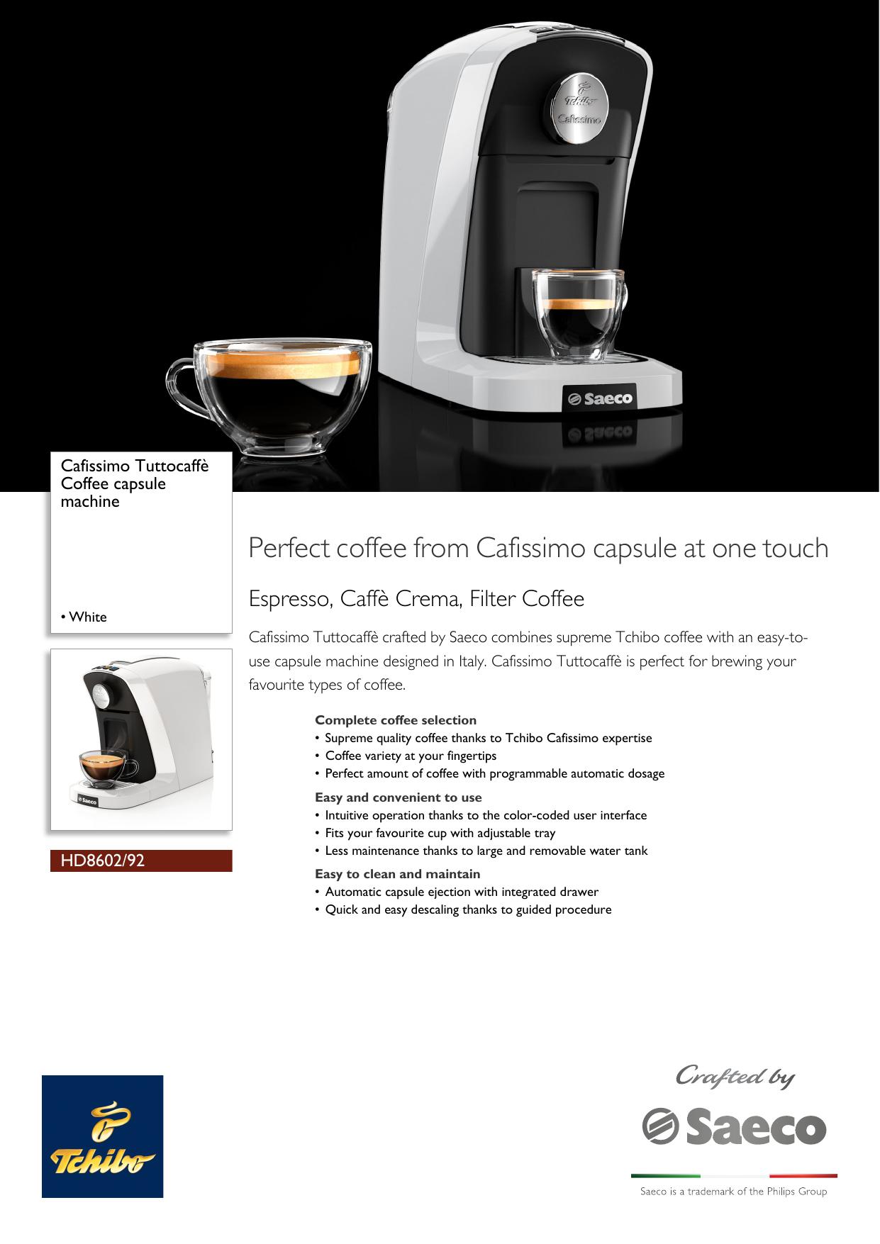 Philips Hd860292 Cafissimo Coffee Capsule Machine