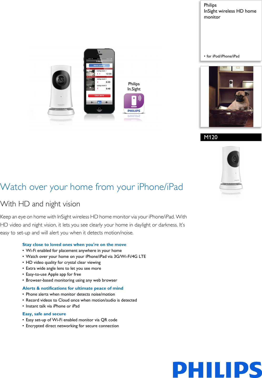 Philips M120/10 InSight Wireless HD Home Monitor In Sight