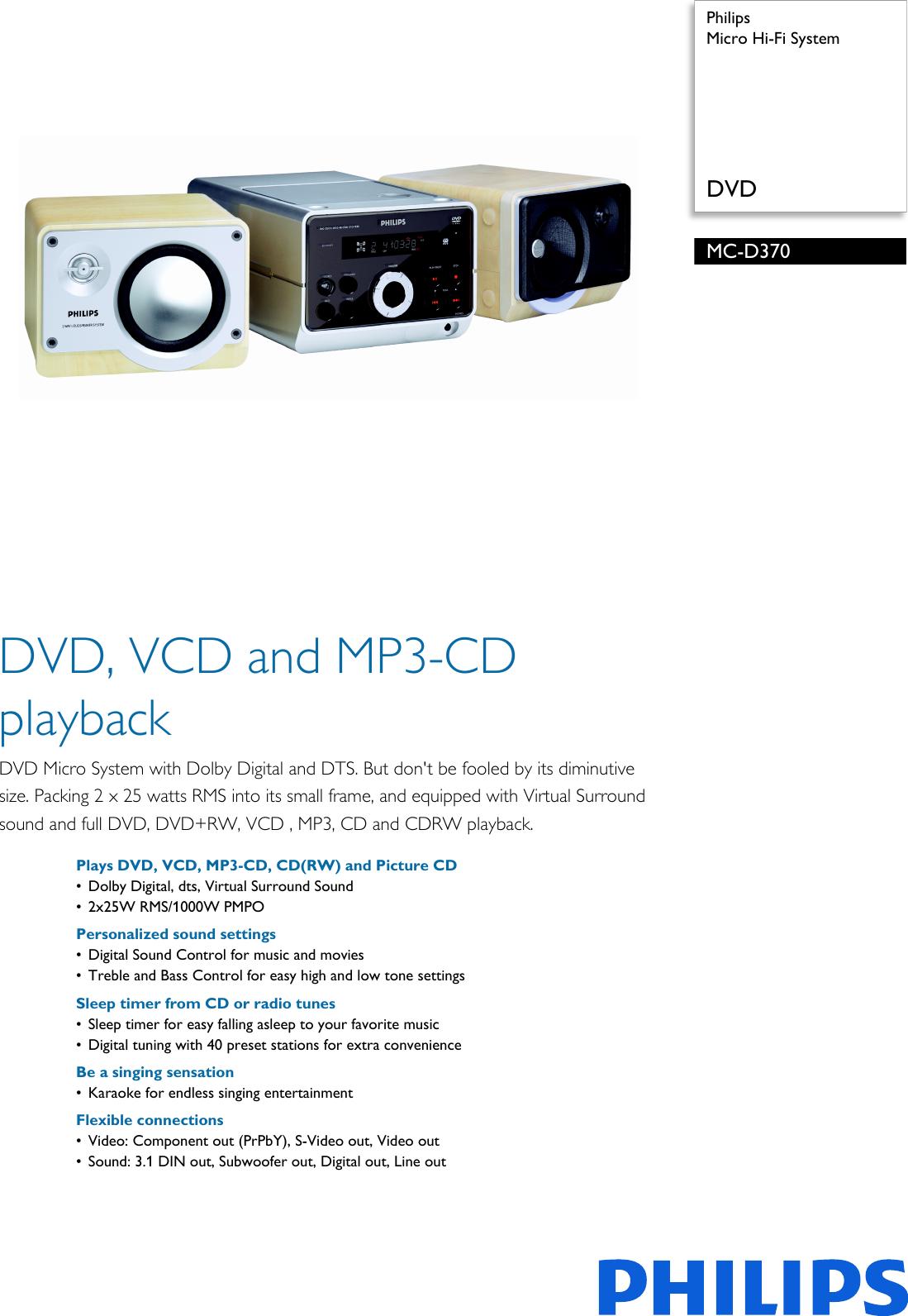 philips mc d370 21m micro hi fi system leaflet d370 21m pss rh usermanual wiki