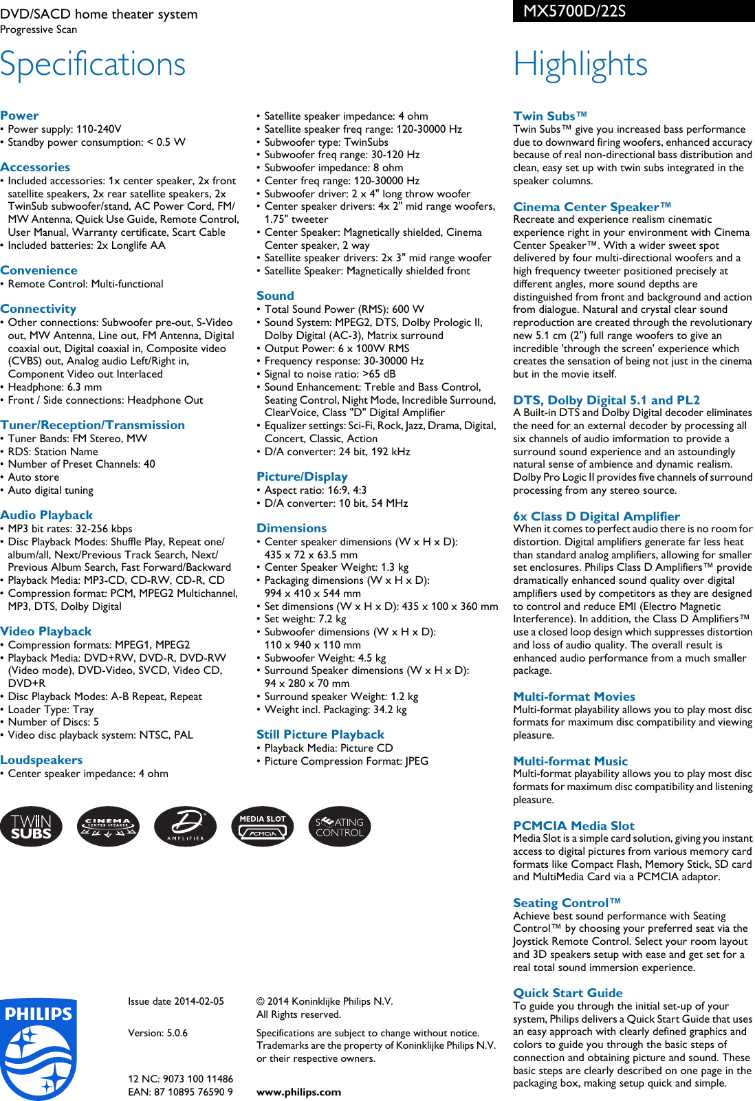 Philips Mx5700d 22s Dvd Sacd Home Theater System Voldik Pss Wiring Diagram Amplifier 5 1 Page 2 Of