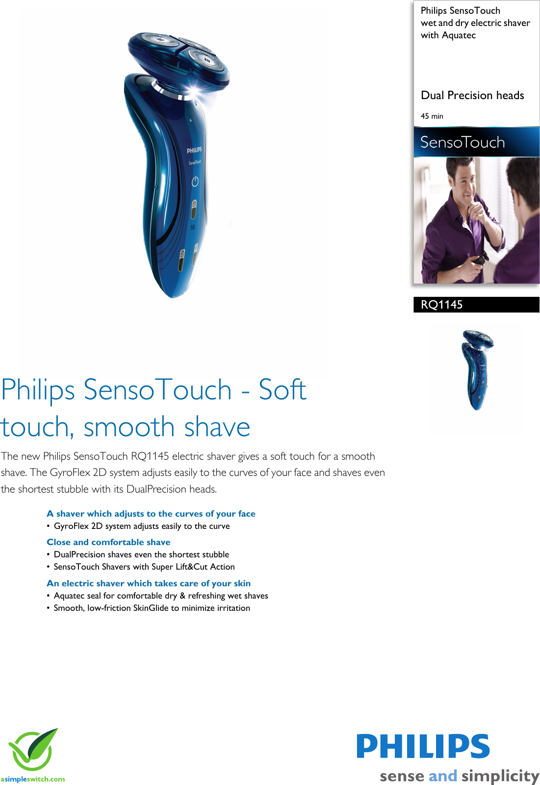 Philips RQ1145 16 Wet And Dry Electric Shaver With Aquatec Rq1145 16 Pss  Aenbe a4d81c84b1d