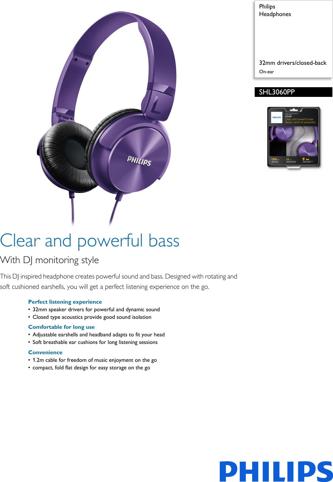 c94b4f48885 Philips SHL3060PP/00 Headphones Shl3060pp 00 Pss Aenin