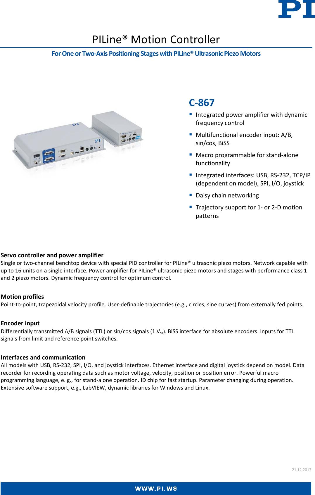 Physik Instrumente C 867 Datasheet