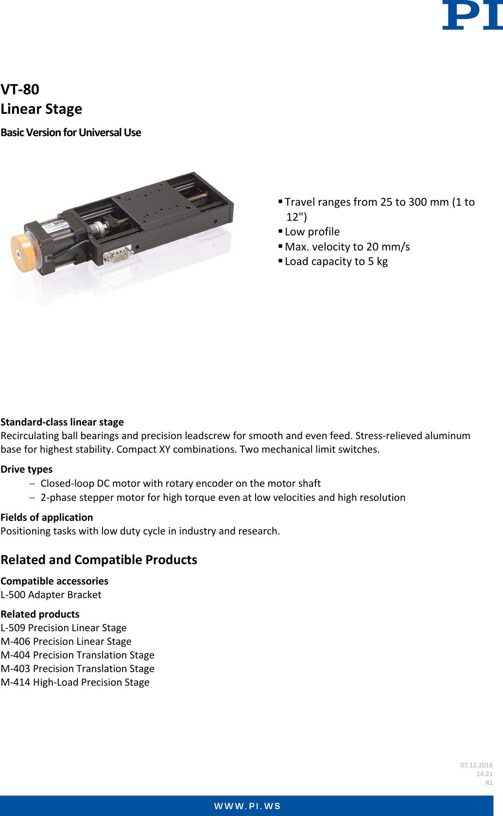 Physik Instrumente Datasheet VT 80