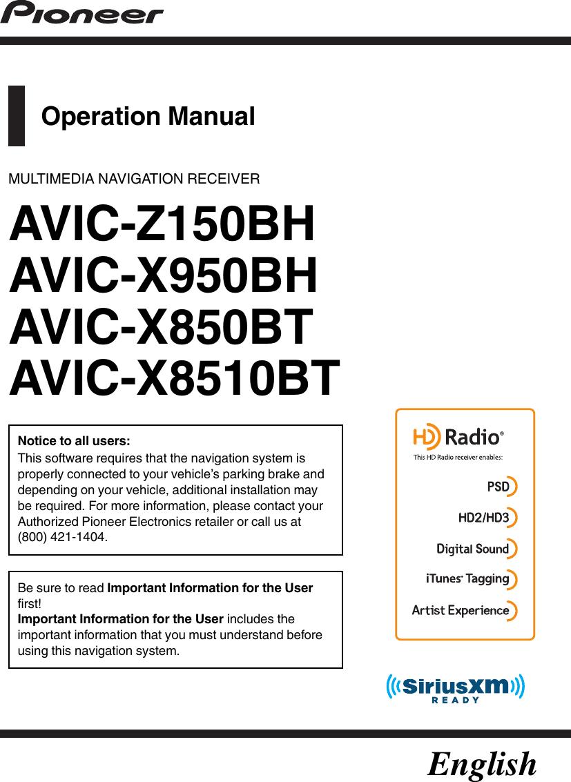 Pioneer Avic Z150Bh Owners Manual