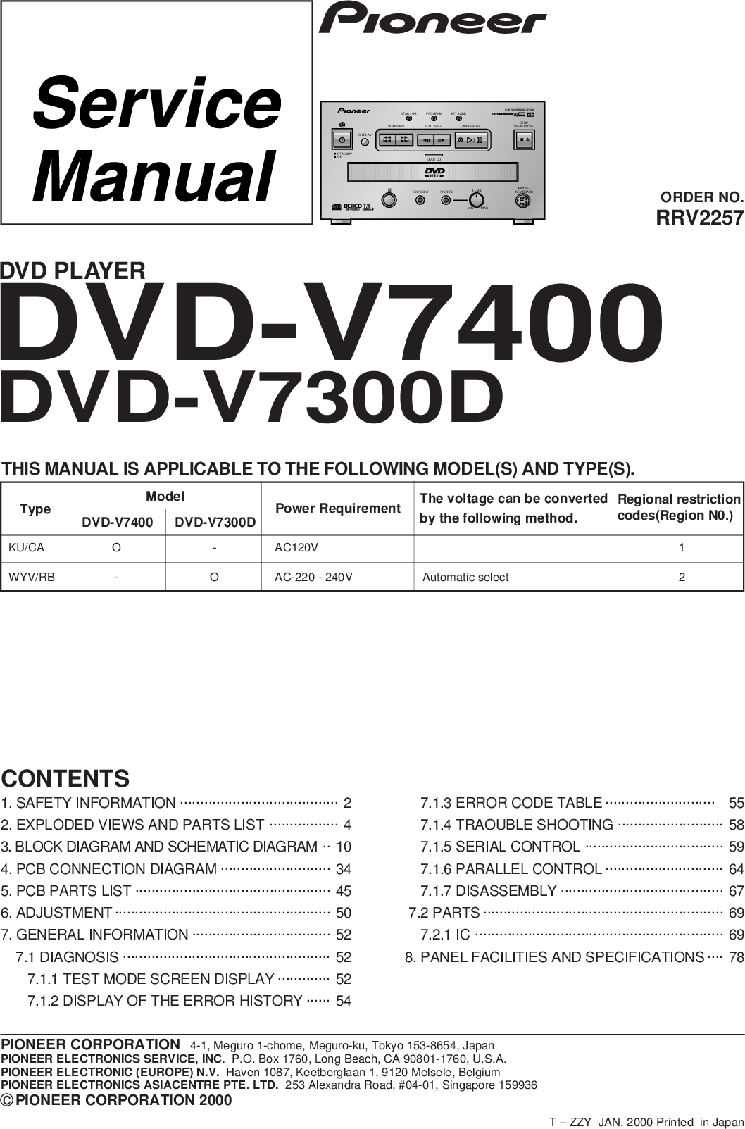 Pioneer DVD V7300D User Manual To The 983156bb 6aff 42ba a15f