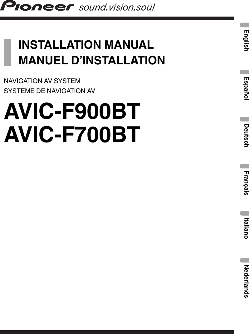 pioneer avic f900 bt installation