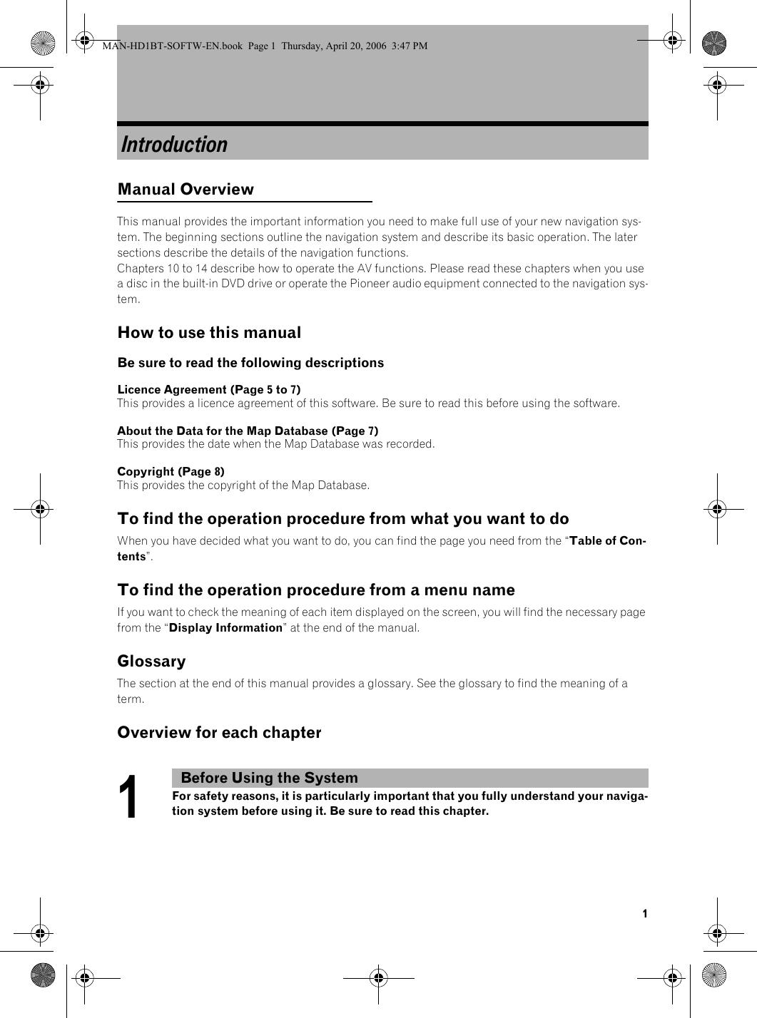 Pioneer Avic Hd1 Bt Operation Manual