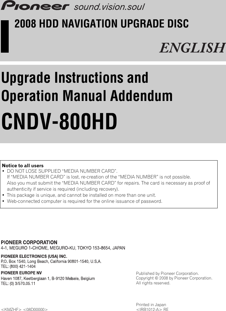 Pioneer Cndv 800 Hd Upgrade Instructions And Operation