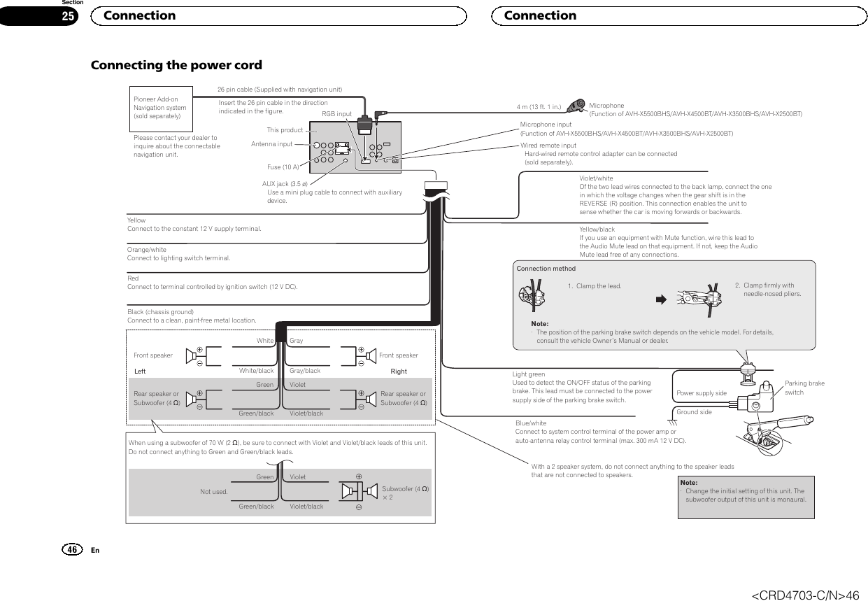 Pioneer Avh X2500bt Wiring Diagram