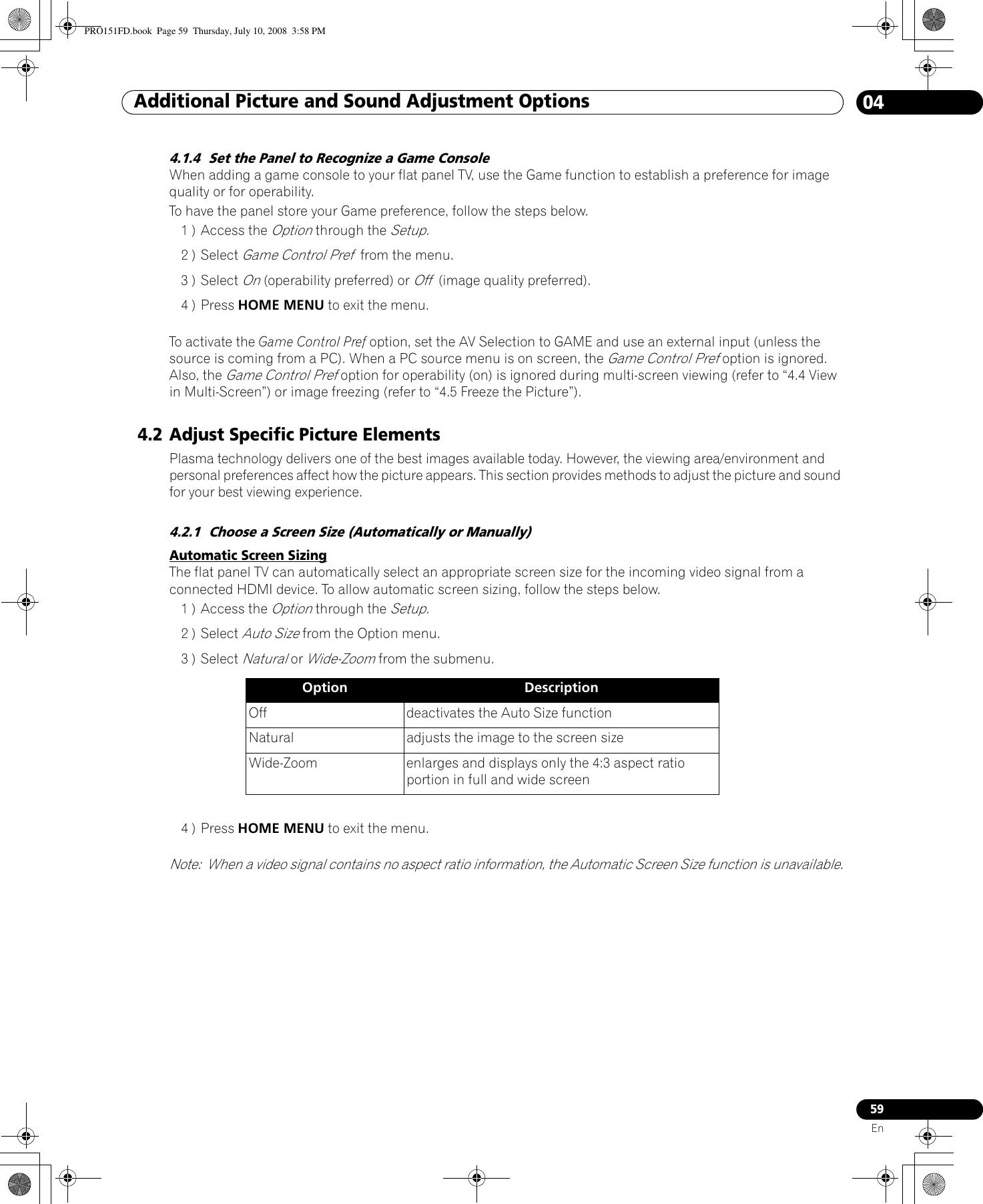 Pioneer Elite Kuro Pro 111Fd Users Manual ARB1579
