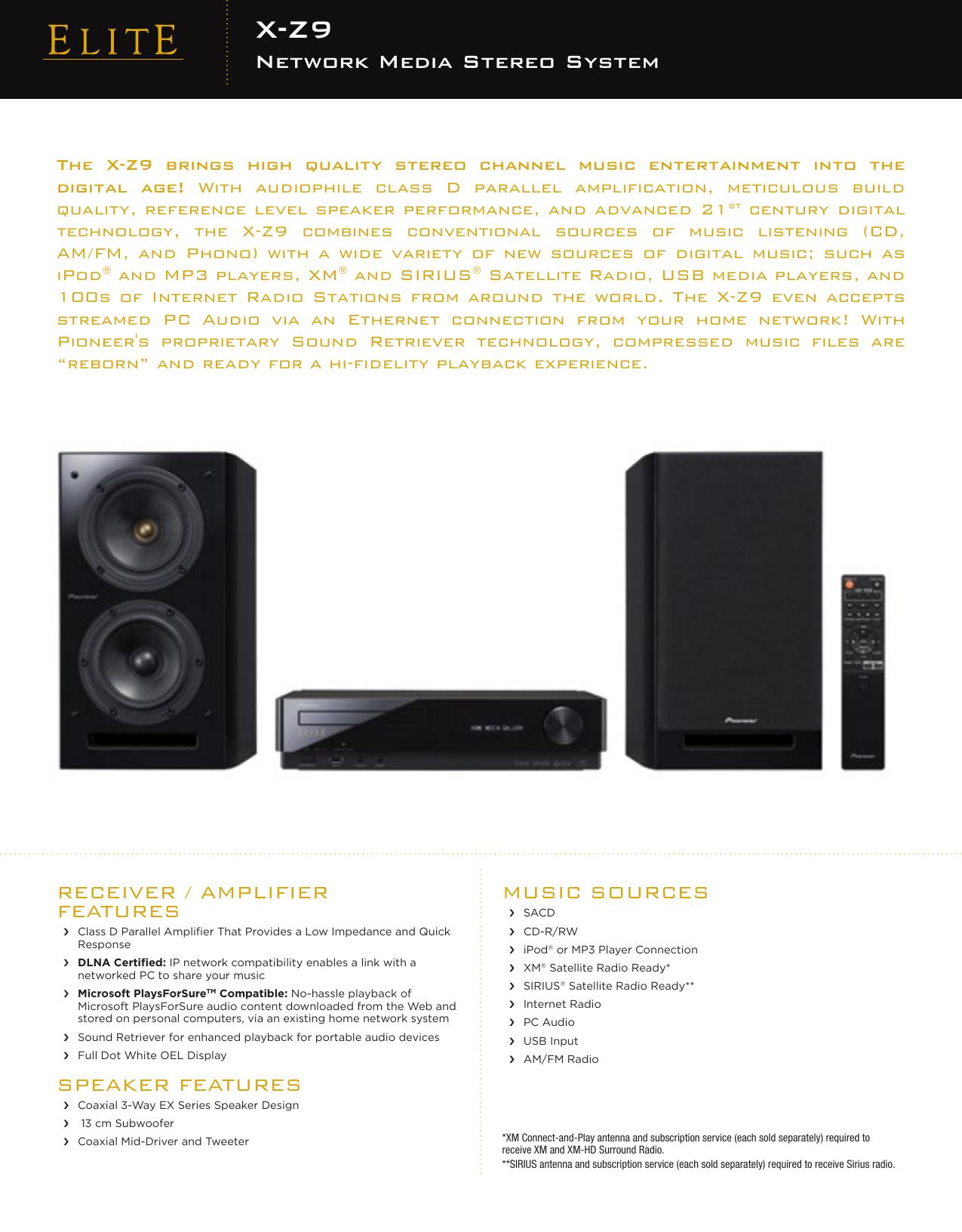 Pioneer Elite X Z9 Users Manual