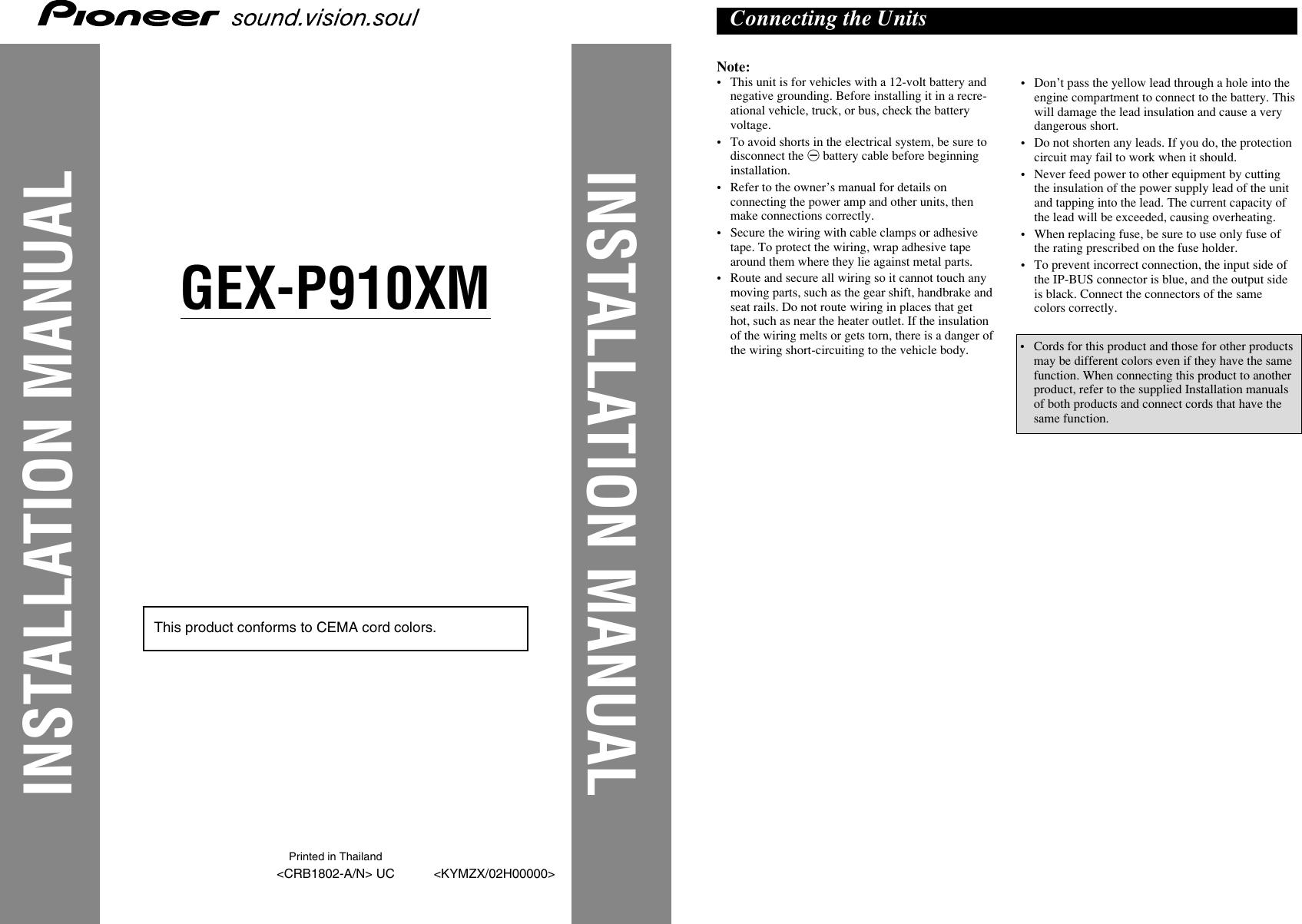 pioneer gex p910xm users manual crb1802 a rh usermanual wiki