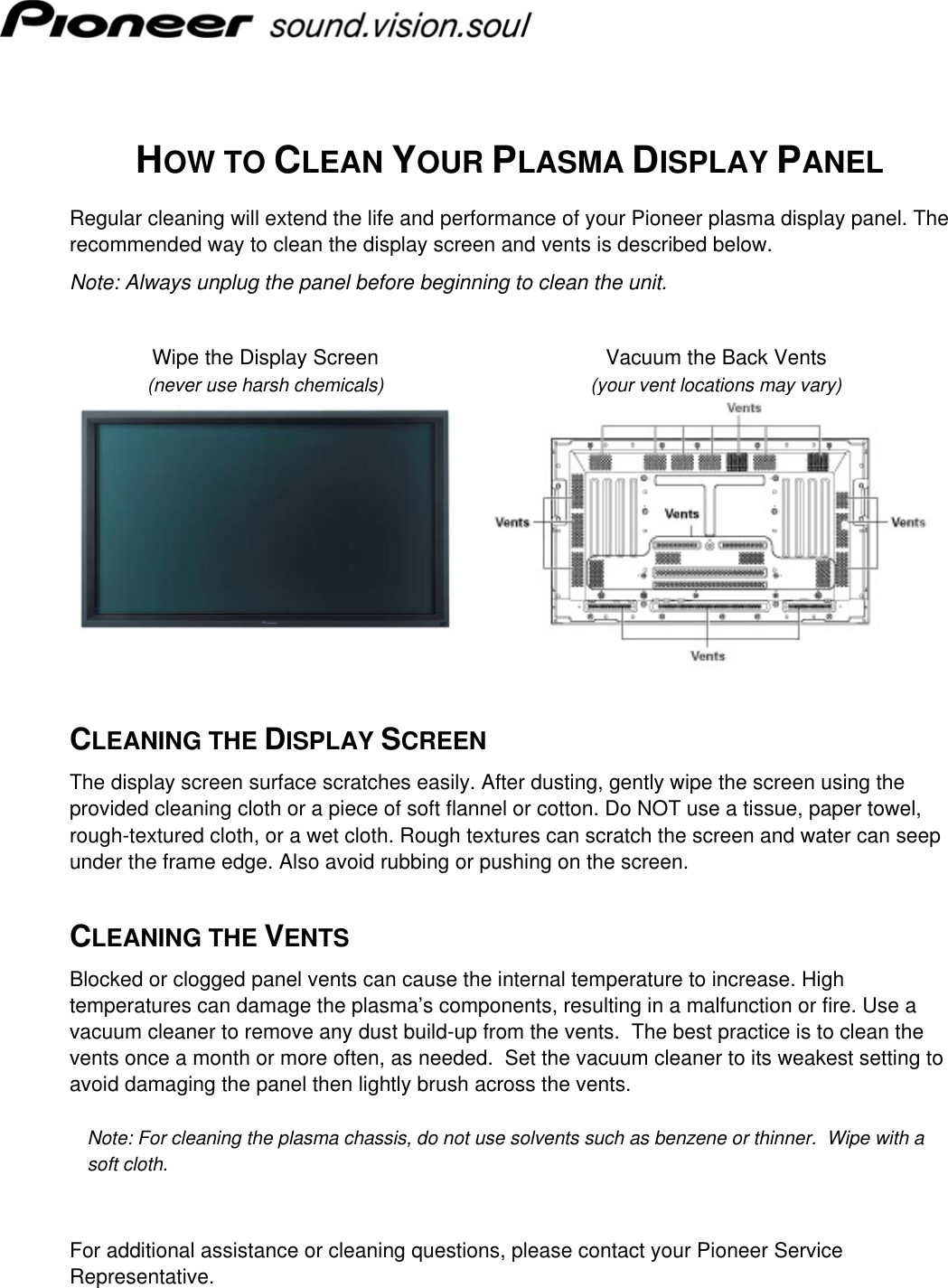 pioneer plasma display panel users manual how to clean the screen rh usermanual wiki Pioneer Plasma HDMI Connection Pioneer Plasma HDMI Connection