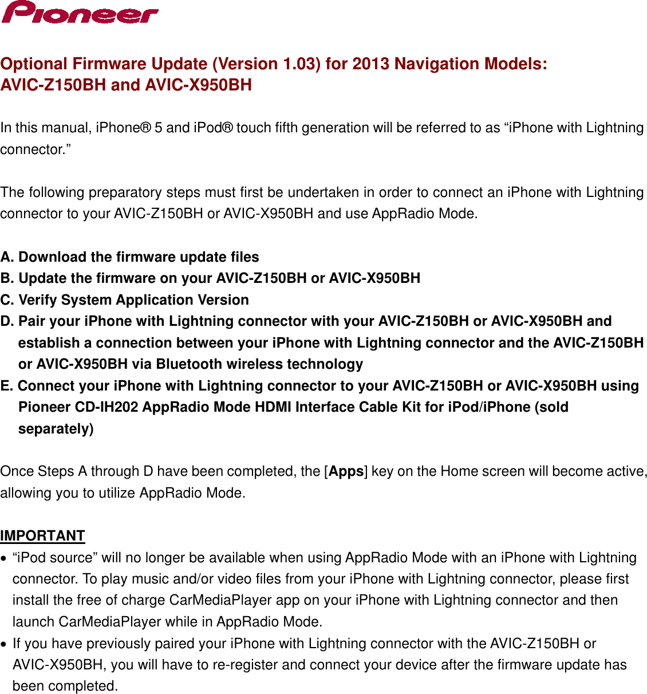Pioneer Telephone Accessories Avic X950Bh Users Manual