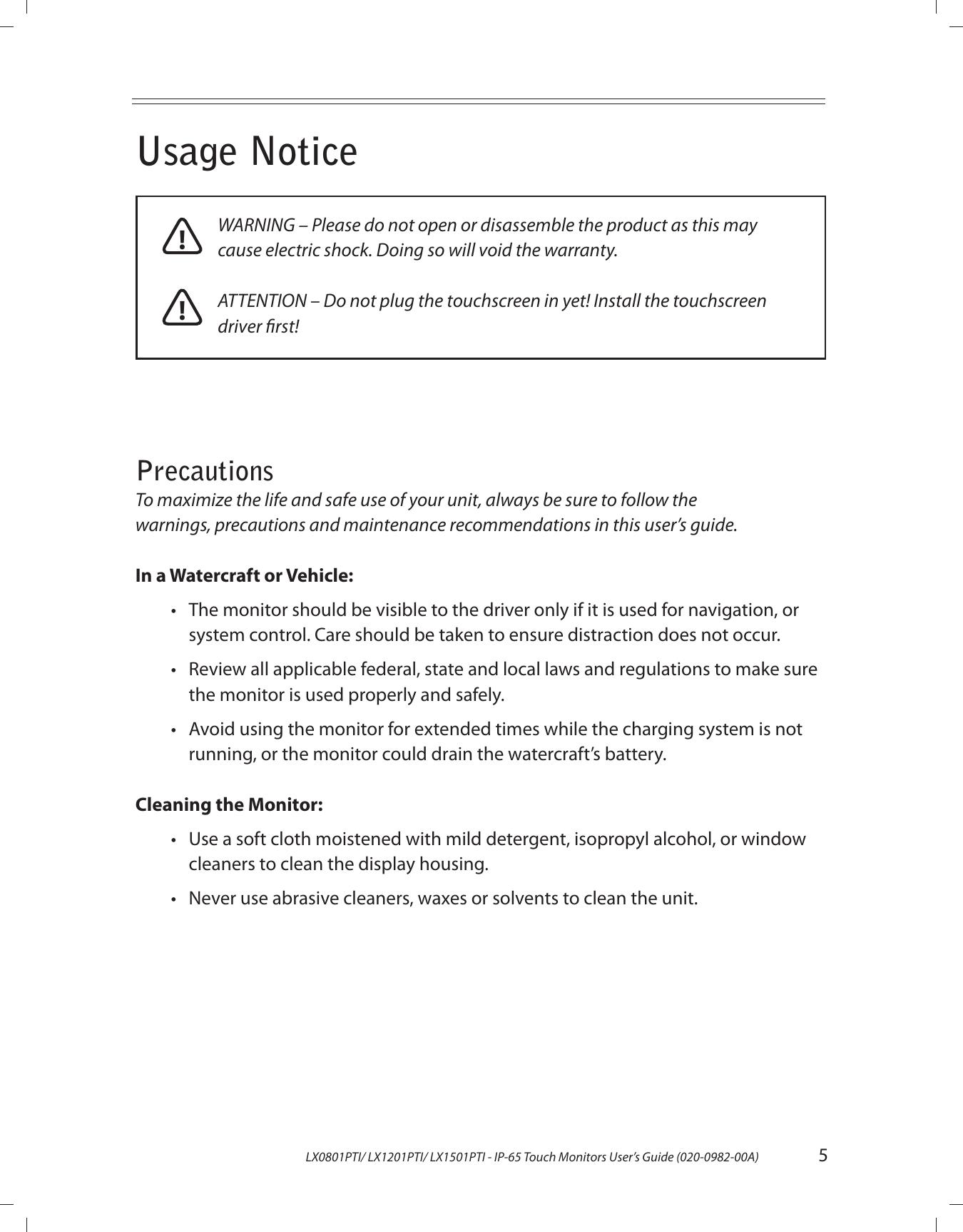 Planar LX1201PTI 9054 PLNR Mariner_UGREV4 User Manual To The