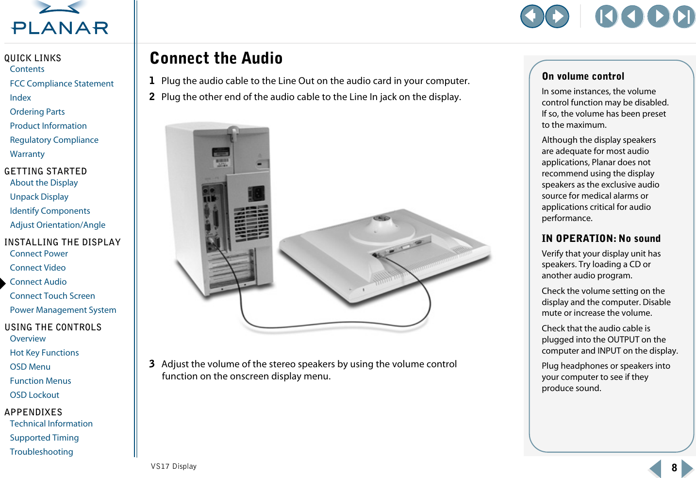 Planar VS15SXAD TR VS17 Display Operations Manual User To
