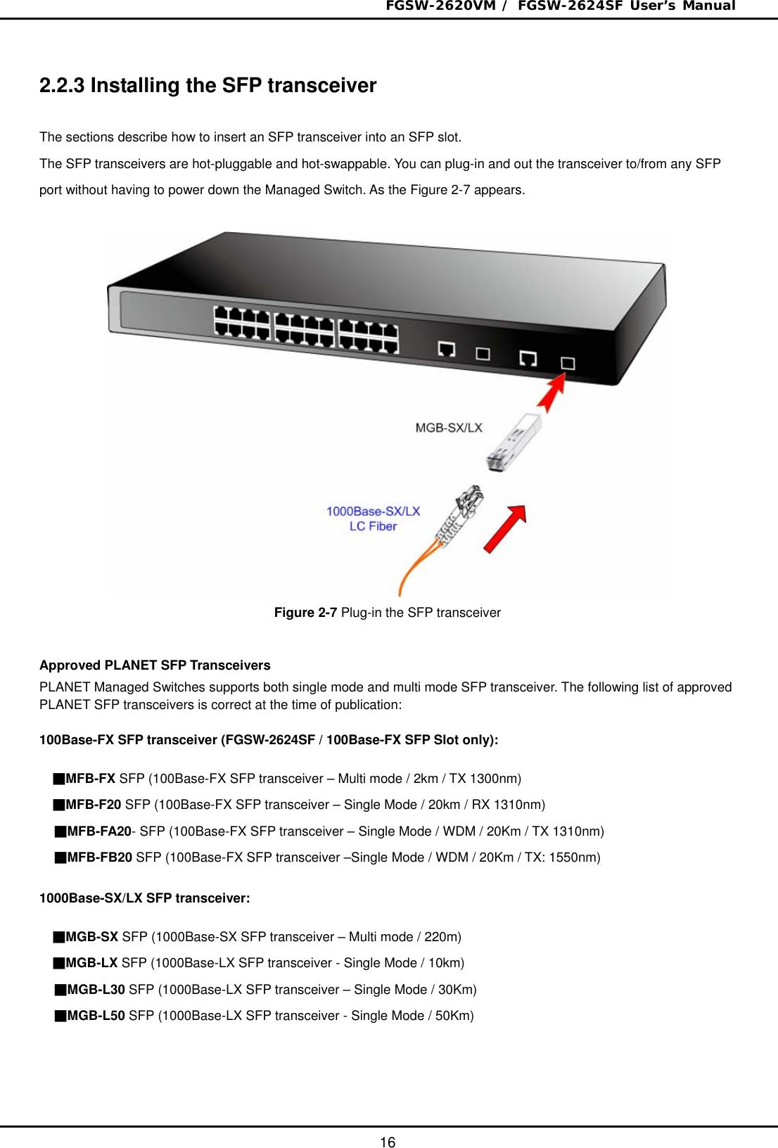 Planet Technology Fgsw 2624Sf Users Manual 2620VM / 2624SF(v2)