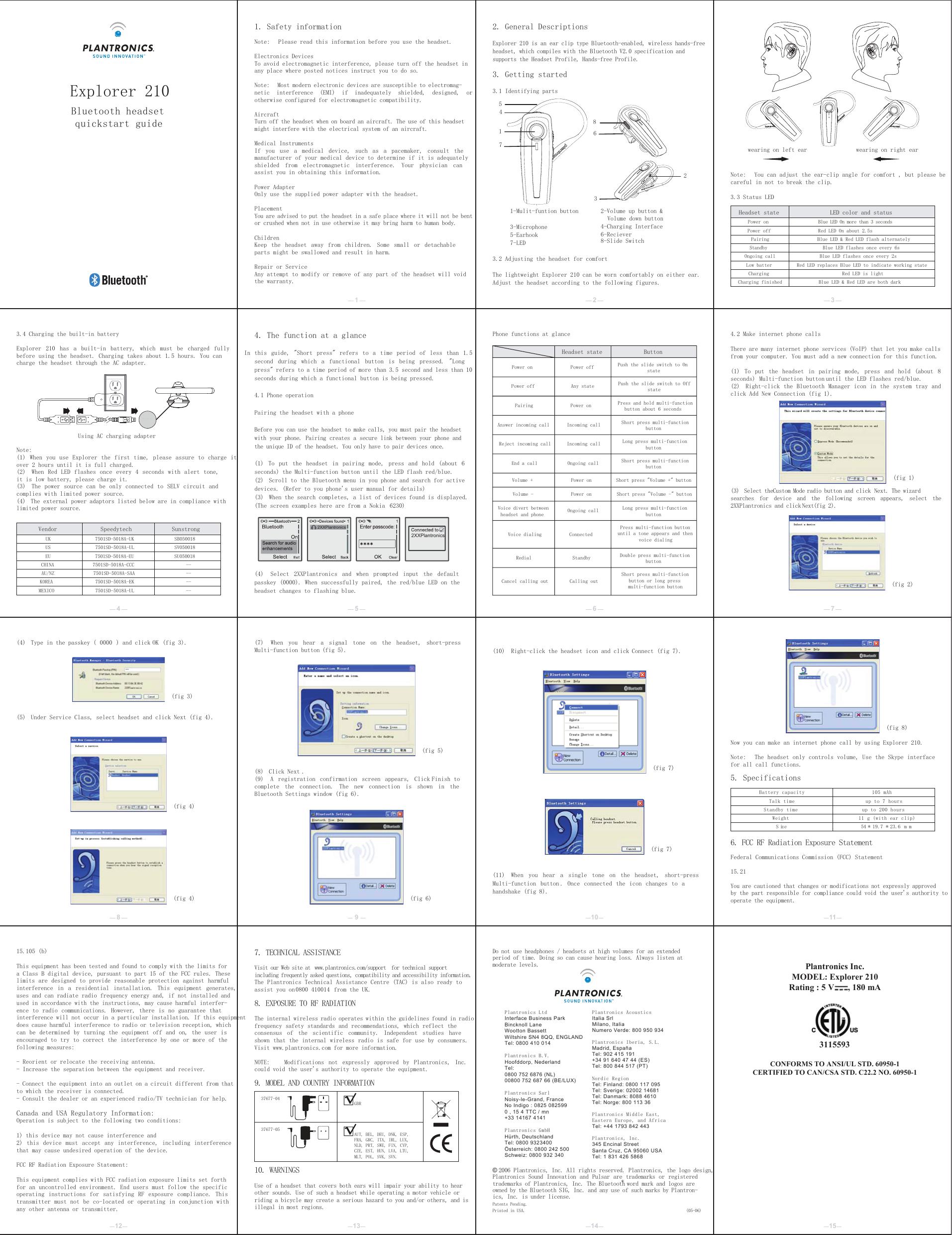 Plantronics E210 Bluetooth Headset User Manual